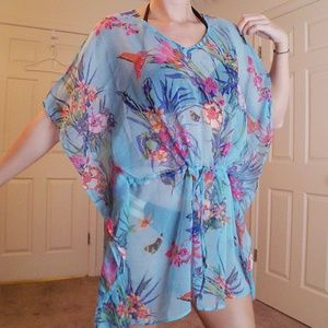 Vintage Millers Blue Floral Bird Swimsuit Coverup